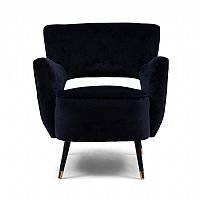 Rivièra Maison Fauteuil 'Laurel' Velvet III, kleur Indigo