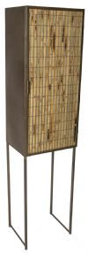 PTMD Opbergkast 'Metal', Bamboe, 98 x 37 x 53.5cm, kleur Bruin