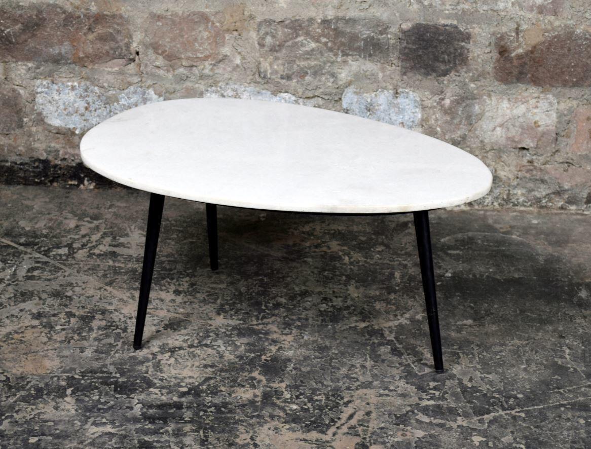 LivingFurn Salontafel 'Organic' kleur White & Black, 70 x 50cm