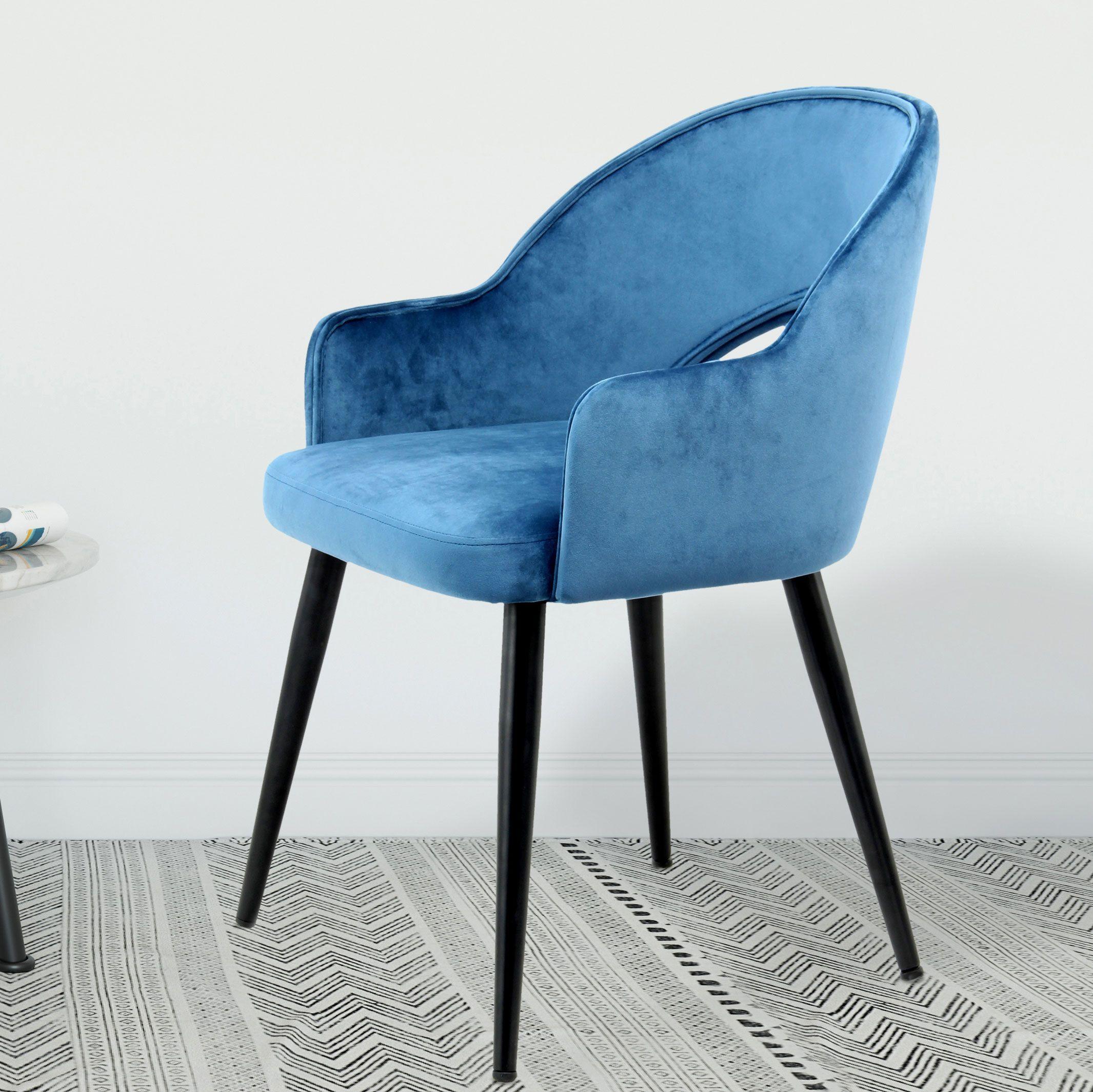 Kayoom Eetkamerstoel 'Joris' Velvet, kleur blauw
