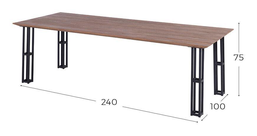 Hartman Tuintafel 'Amsterdam' Teakhout/Zwart, 240 x 100cm