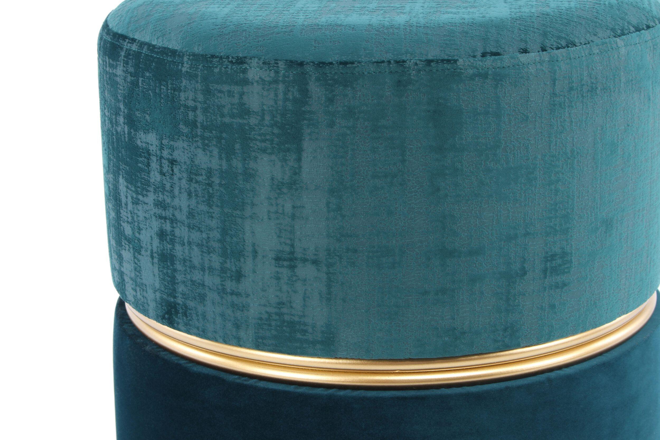 Kayoom Poef 'Cleopatra' 40cm, kleur petrol