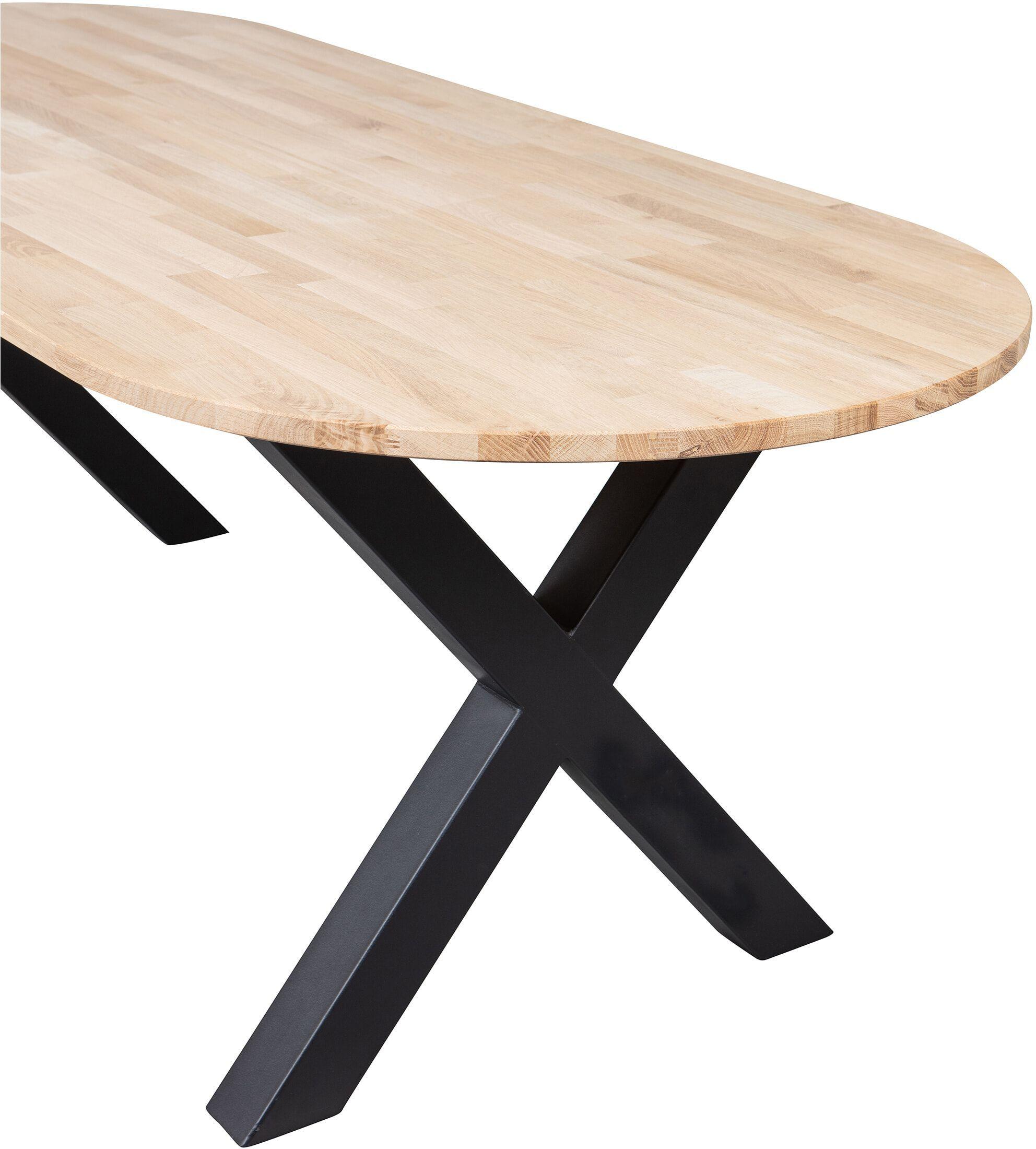 WOOOD Ovale Eettafel 'Tablo' met X-poot, 220 x 90cm