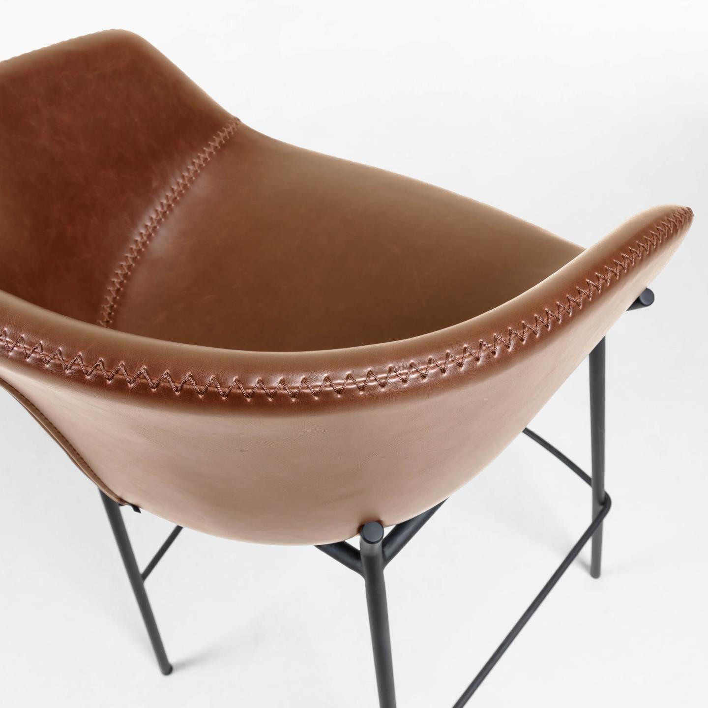 Kave Home Barstoel 'Yvette' PU (zithoogte 65cm), kleur Bruin